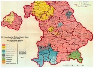 Verbreitung der Rinderschläge in Bayern 1928. Orange schraffiert: Ansbach-Triesdorfer Rind